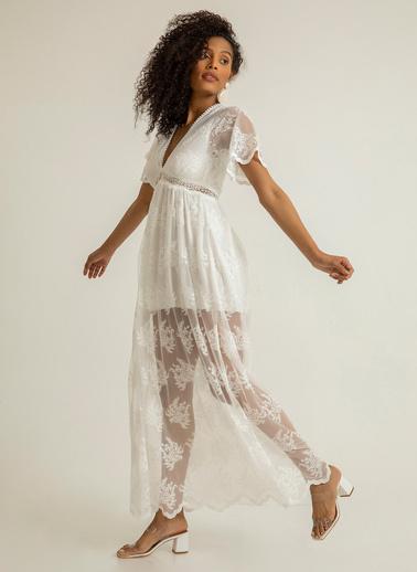 Foremia Derin V Yaka Dantelli Elbise Beyaz